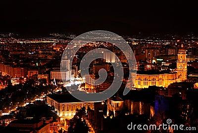 Malaga at Night - Cityscape