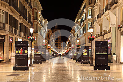 Malaga at night, Spain Editorial Photography