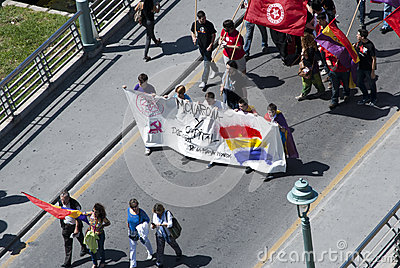 Malaga (Spain), 14 April 2013: Demonstrations against Monarchy in the II Republic Anniversary Editorial Photography