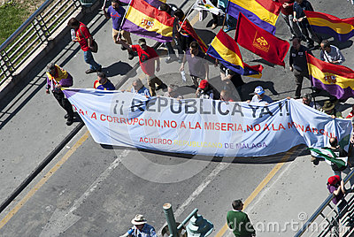 Malaga (Spain), 14 April 2013: Demonstrations against Monarchy in the II Republic Anniversary Editorial Stock Image