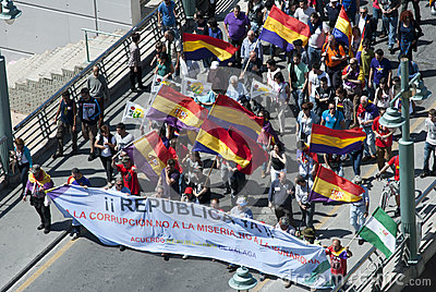Malaga (Spain), 14 April 2013: Demonstrations against Monarchy in the II Republic Anniversary Editorial Photo