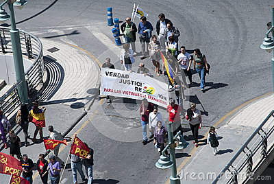 Malaga (Spain), 14 April 2013: Demonstrations against Monarchy in the II Republic Anniversary Editorial Image