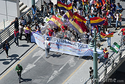 Malaga (Spain), 14 April 2013: Demonstrations against Monarchy in the II Republic Anniversary Editorial Stock Photo
