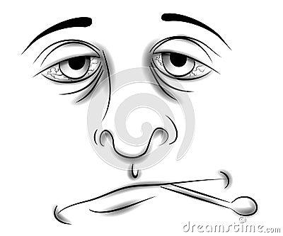 Malato con il fronte di influenza o di freddo