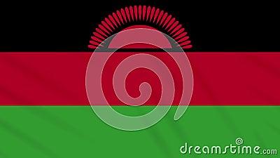 Malawi-Fahne-Tuchhintergrund, Schleife stock footage