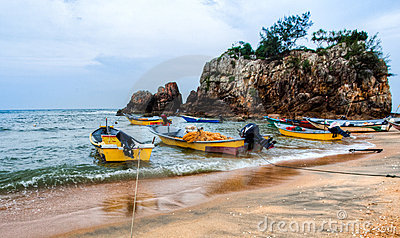 Malay Fishing Boats Editorial Stock Photo