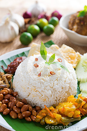 Malay food nasi lemak kukus