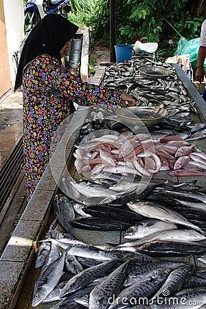 Malay Girl Selling Fish