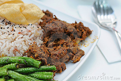 Malay vegetarian rendang chicken or mutton rice