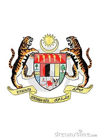 Malaysia National Emblem Isolated on White