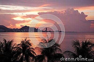 Malaysia, Penang: City view at the sunset