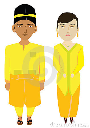 Malaysia Traditional Costume in Vector