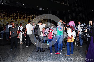 Malaysian Airline Flight MH370 with media team Editorial Stock Image