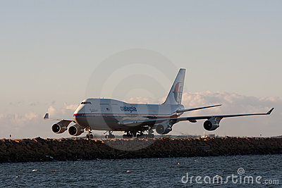 Malaysian Airlines Boeing 747 on runway. Editorial Photo