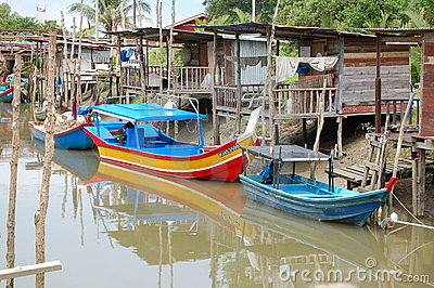 Malaysian Fishing Village Editorial Image