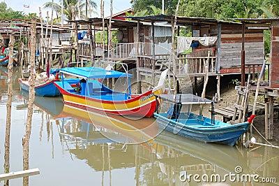 Malaysian Fishing Village Editorial Image