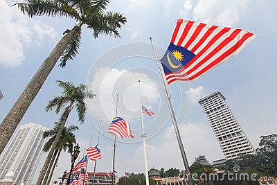 Malaysian flags at half mast following MH17 incident Editorial Photo