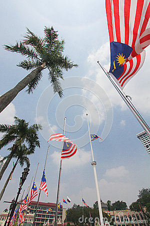 Malaysian flags at half mast following MH17 incident Editorial Photography