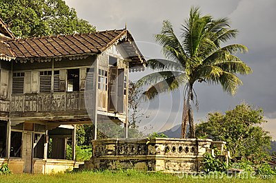 Malaysian old house, exotic landscape