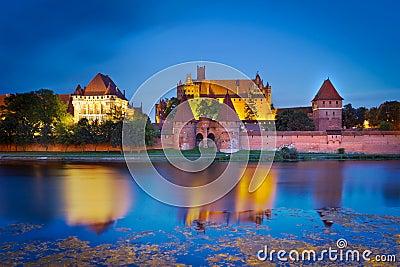 Malbork castle at dusk, Poland