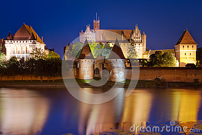 Malbork castle at night, Poland