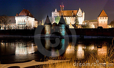 Malbork castle in Poland at night