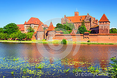 Malbork castle in summer scenery