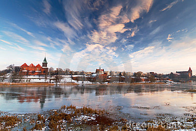 Malbork city with frozen Nogat river