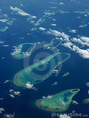 The Maldives - Aerial view of coral islands