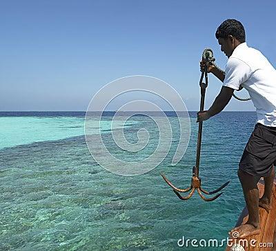 Maldives - Dropping anchor Editorial Stock Image