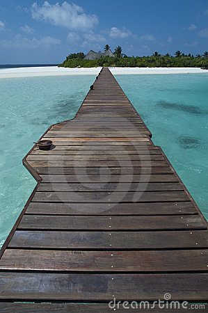 Maldives - Jetty over a tropical lagoon