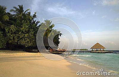 Maldives Luxury Beach Resort Editorial Stock Photo