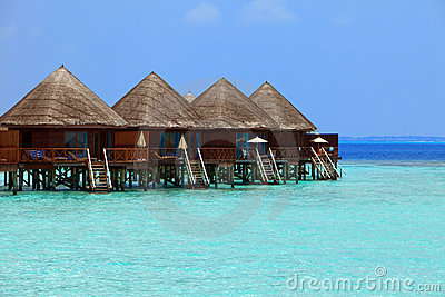Maldives. Villa on piles on water