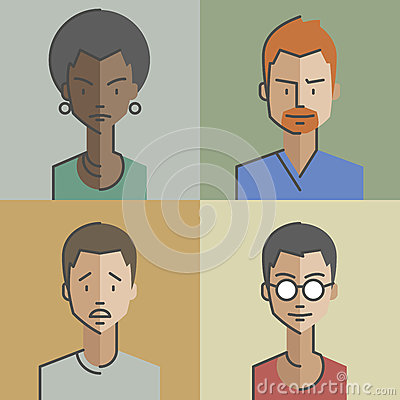 Free Male And Female Faces Avatars Set 01 Stock Images - 67887344
