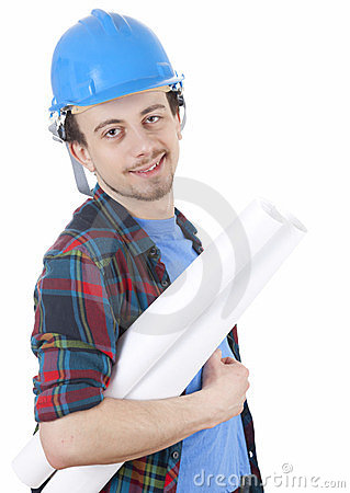 Male architect in blue hardhat with blueprint