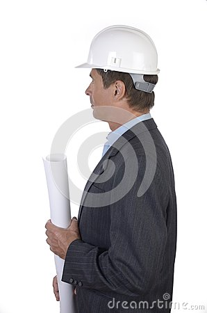 Male architect with hard hat profile