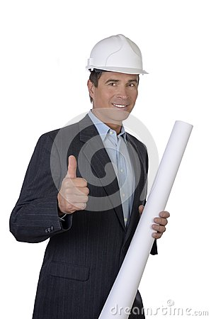 Male architect smiling with blue print thumb up