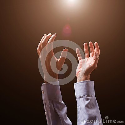Free Male Arms And Hands Raised And Outstretched In The Air To God. Man Praying, Begging, Pleading Imploring Or Supplicating. Stock Photography - 105321952