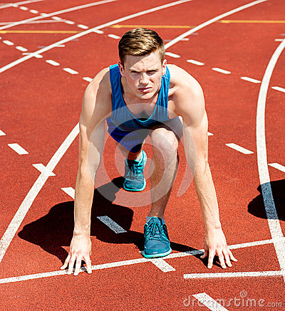 A male athlete ready to run the race