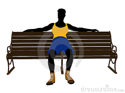 Male Athlete Sitting On A Bench Silhouette