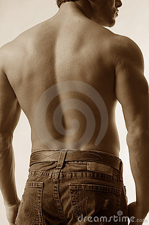 Male back in jeans