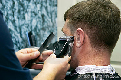 Male barber at work