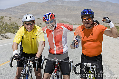 Male Bicyclists With Bicycles