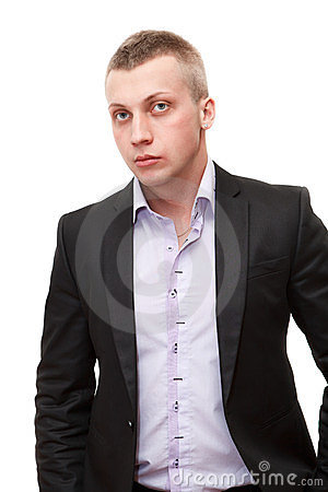 Male with blond hair in siut