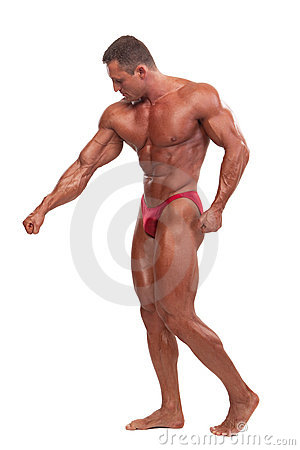 Free Male Body Builder Demonstrating Pose, Isolated Stock Photography - 10516212
