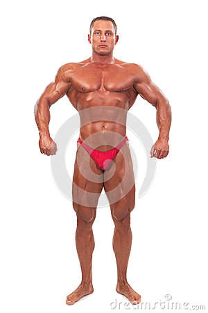 Free Male Body Builder Demonstrating Pose, Isolated Stock Photography - 33705162