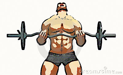 male body builder illustration - weight lifter