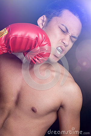 Free Male Boxer Getting Hit Royalty Free Stock Images - 74480009