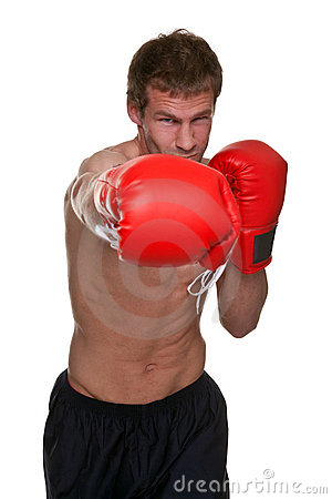 Male boxer knockout punch