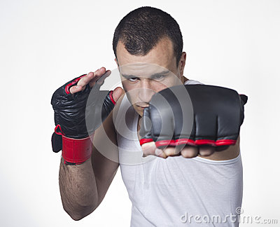 Male boxer punching
